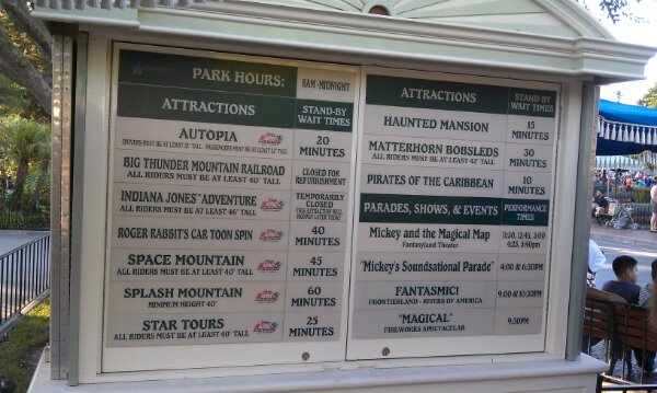 #Disneyland wait times around 6:50pm
