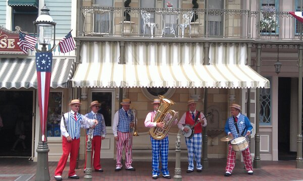 The Straw Garters performing on Main Street USA