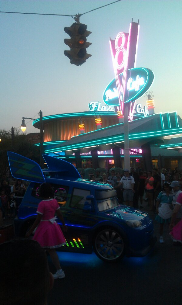 DJ out for a Dance Party at the intersection of Cross St and Route 66 #CarsLand