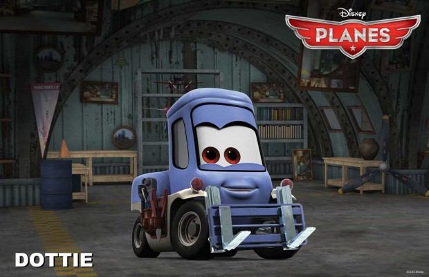 He is cheered on by his friends Dottie (a forklift voiced by Teri Hatcher)