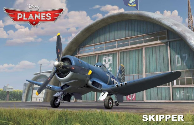 flight instructor is Skipper Riley (a retired Navy Corsair voiced by Stacy Keach)