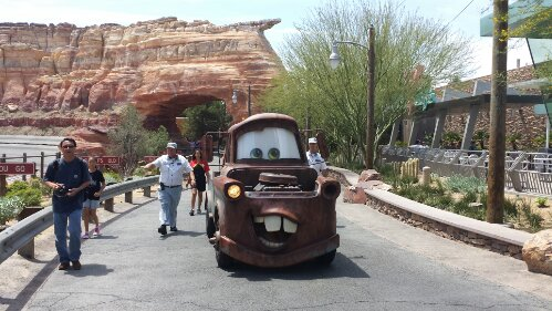 Mater cruising down Cross St on his way to the Cozy Cone #CarsLand