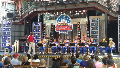 The 2013 All-American College Band performing on the Backlot Stage