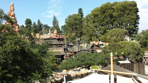 Scaffolding up on the Big Thunder Station as the project moves along