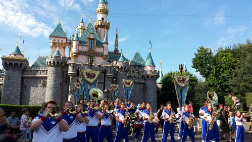 The All American College Band in front of Sleeping Beauty Castle