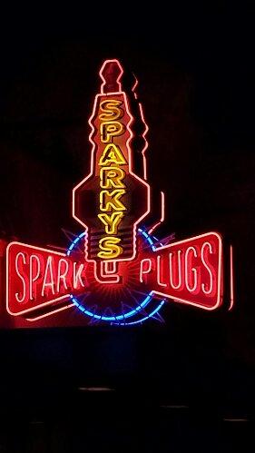 Sparkys Spark Plugs #CarsLand neon