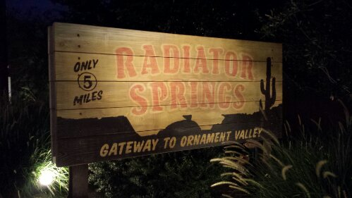 Radiator Springs Gateway to Ornament Valley sign