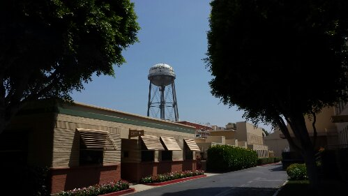 The Studios water tower in the background.