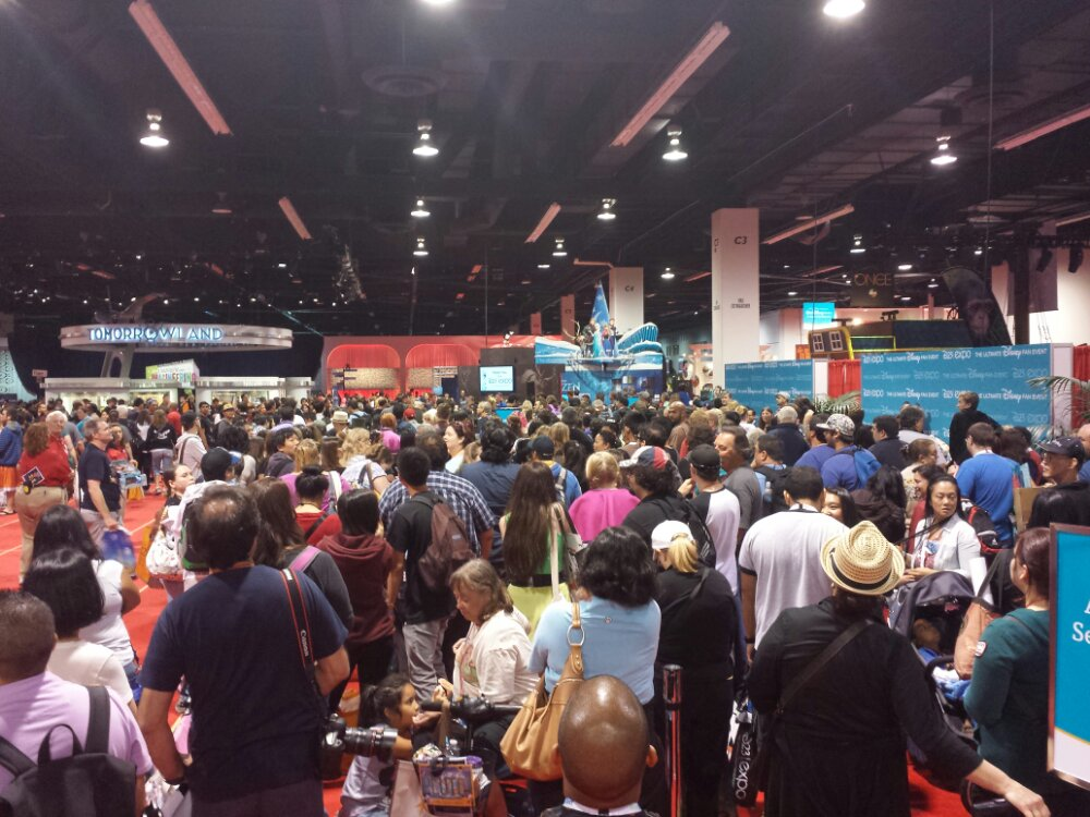 A large crowd at a Disney Animation Raffle #D23Expo