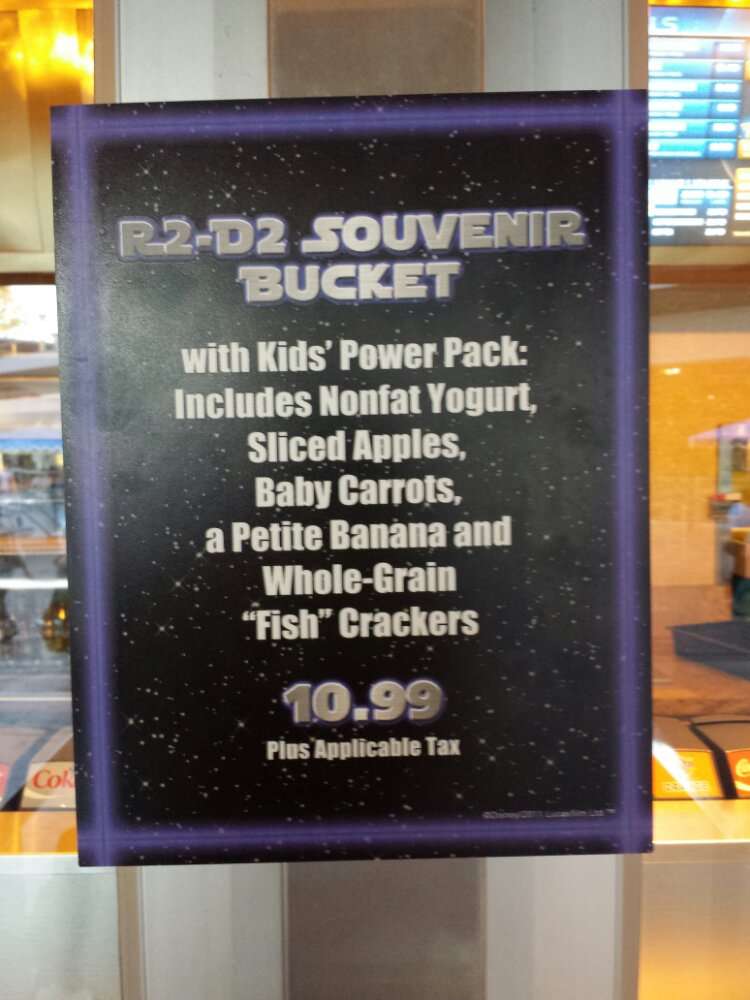 R2-D2 Souvenir Bucket available with a Kids Power Pack meal, meal only is $5.99