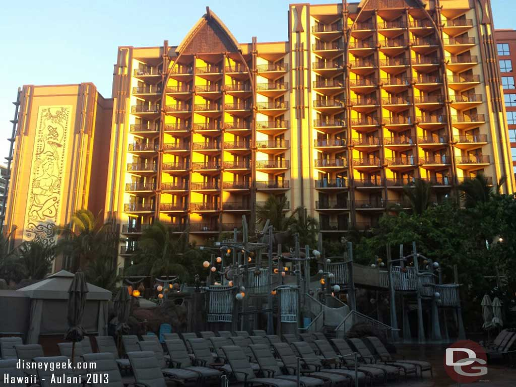 The Ewa tower as the sun is rising this morning #Aulani