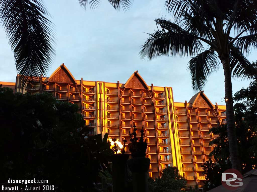 The Ewa tower this evening as the sun is setting #Aulani