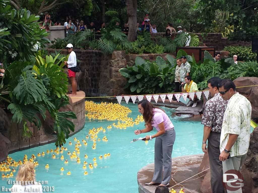 The ducks crossing the finish line #Aulani