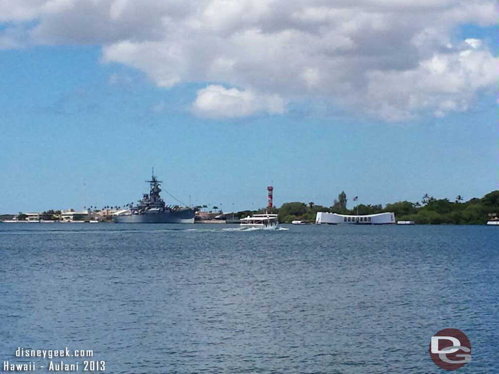Looking out into the harbor the Arizona Memorial and Missouri #Hawaii