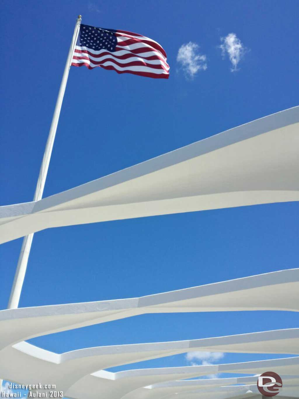 The US Flag flying over the Arizona Memorial #Hawaii
