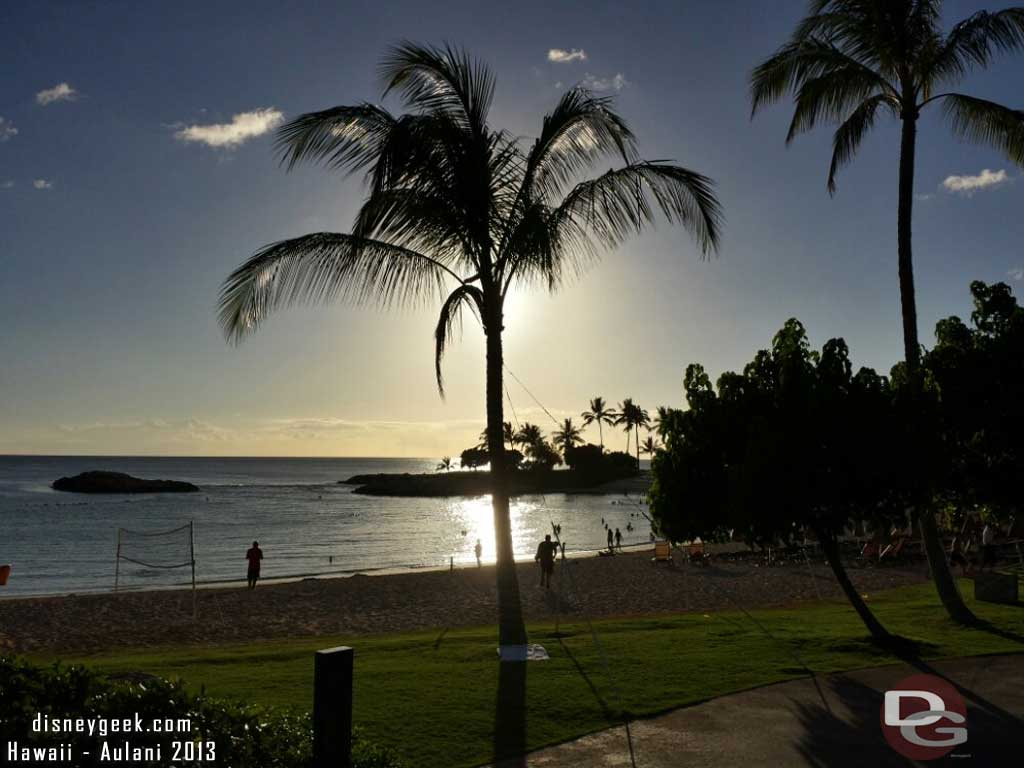 About a half hour till sunset looking out to the lagoon #Aulani