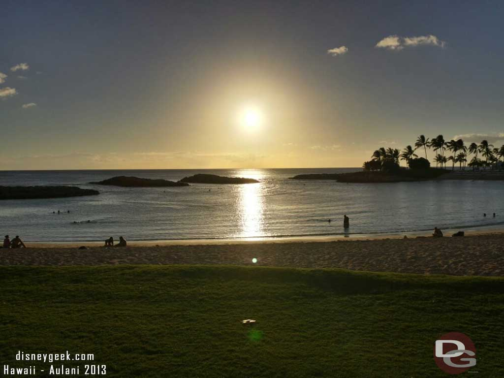 Looking out to the lagoon as the sun is setting #Aulani