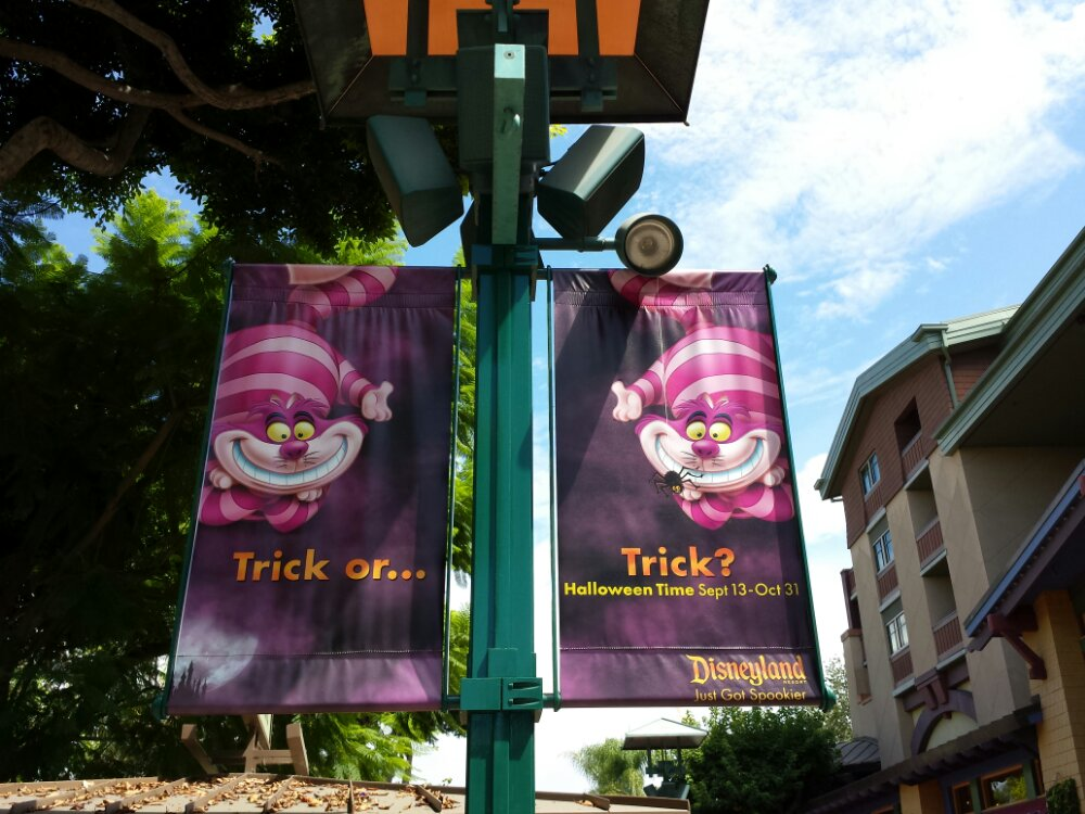 Halloween time banners in Downtown Disney