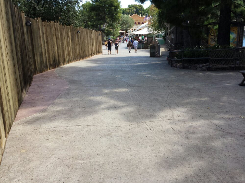 The Big Thunder Trail has reopened and now has concrete to match the rest of Frontierland