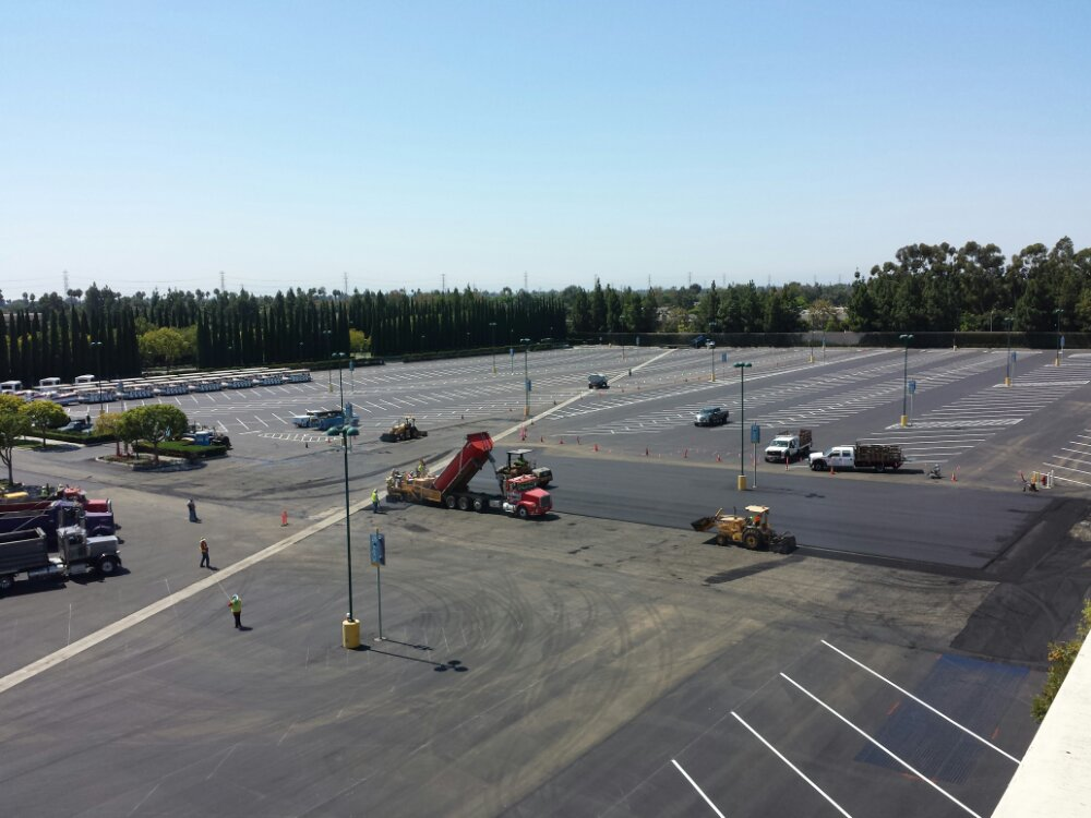 The smell of fresh asphalt greets you at Disneyland today as they are resurfacing Pinocchio Lot