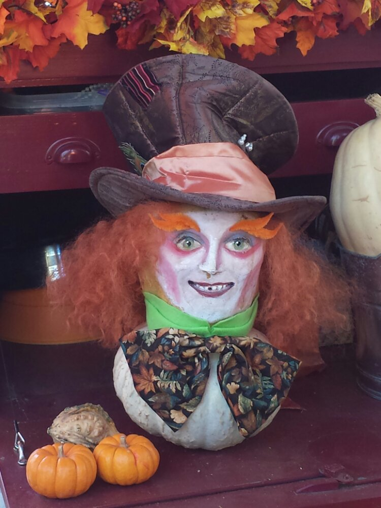 Mad Hatter pumpkin art at the Big Thunder Ranch Halloween Carnival