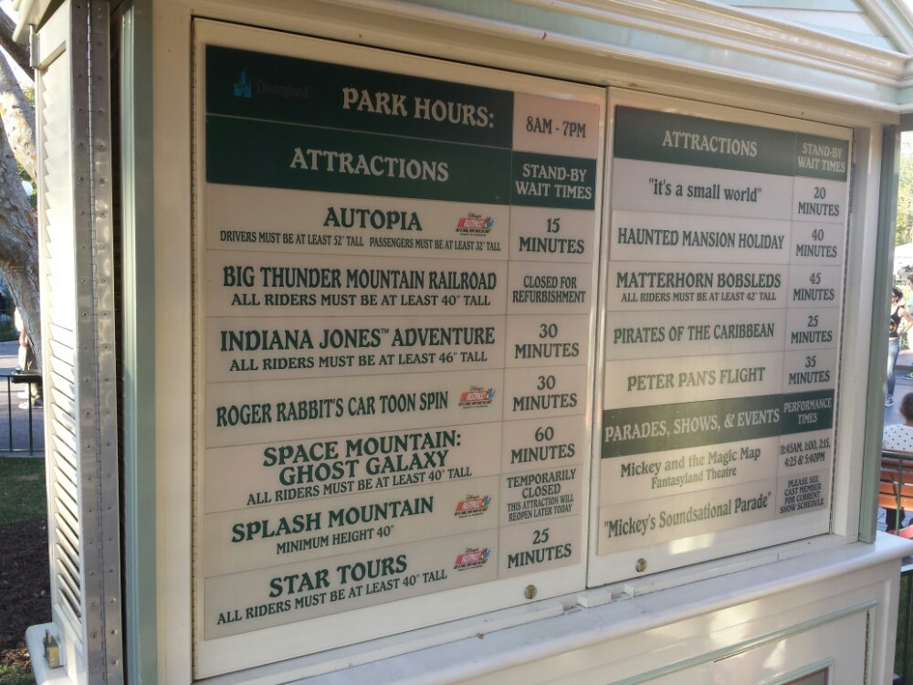 #Disneyland wait times just before 5pm