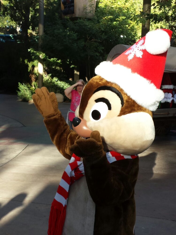 Chip greeting guests at the Jingle Jangle Jamboree