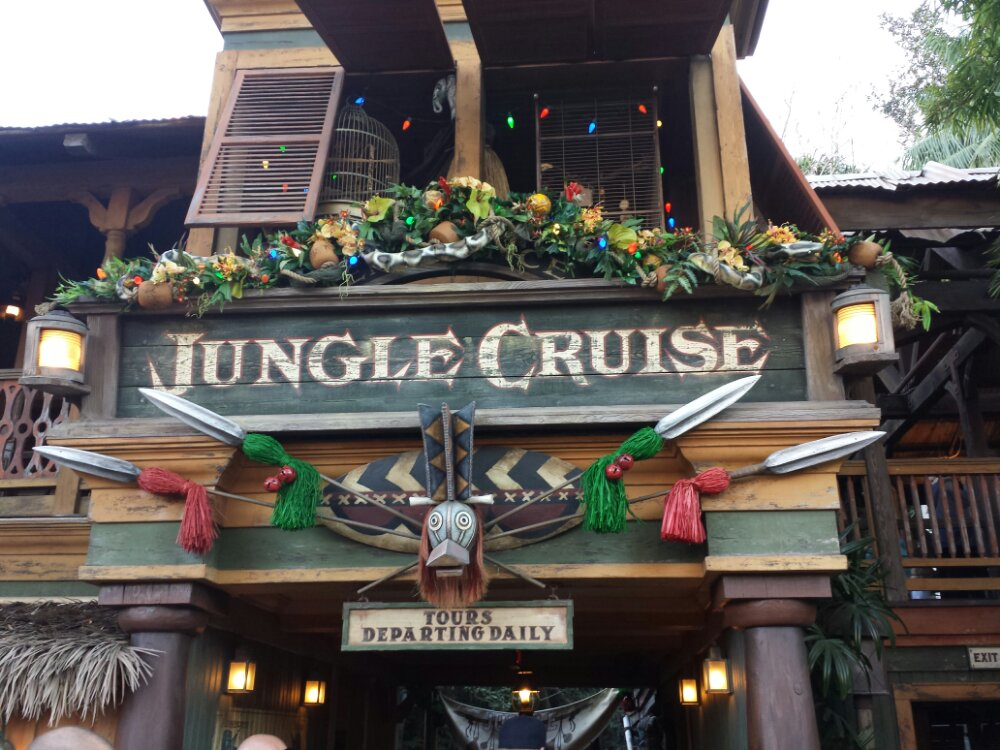 The Jungle Cruise will be the Jingle Cruise starting next week, some decorations up today