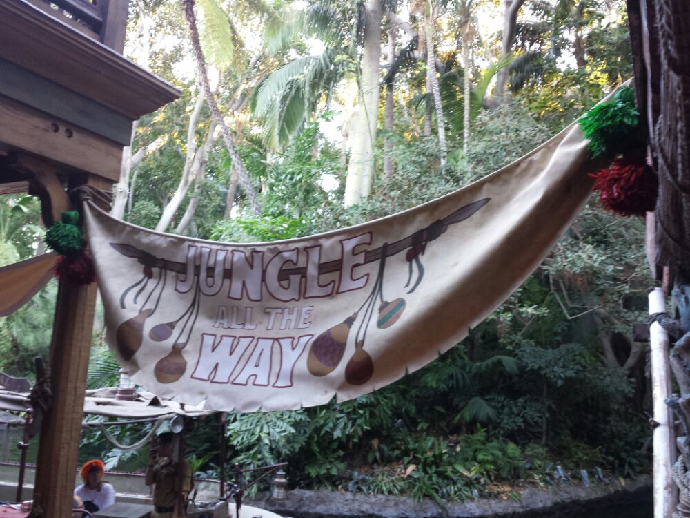 A jungle all the way banner near where you board