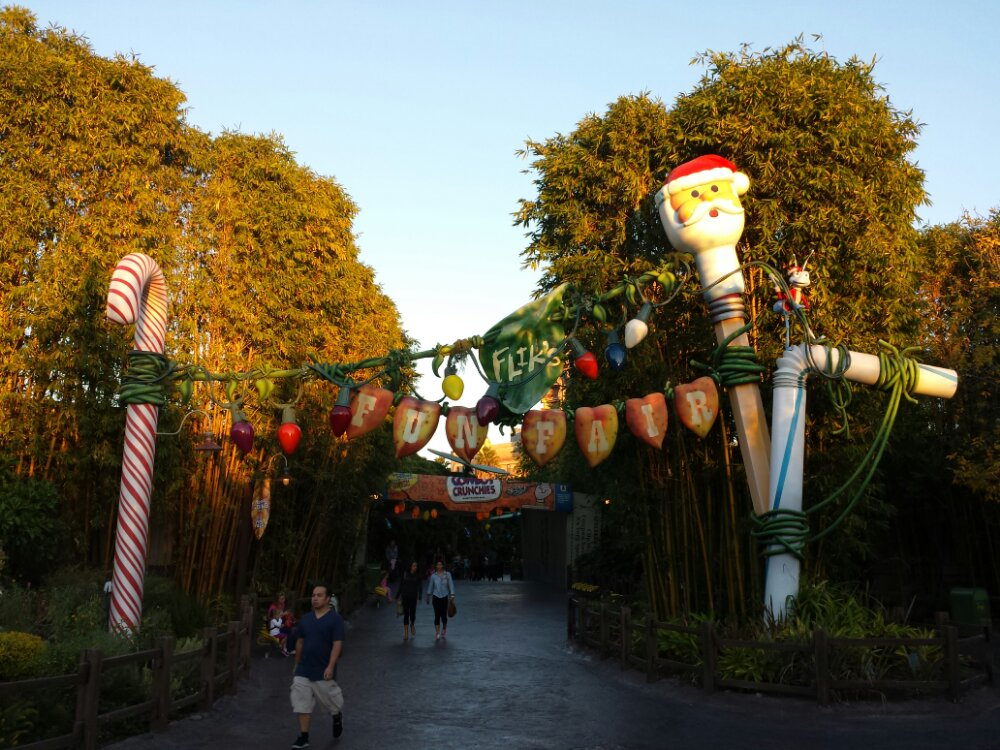 The entrance to Fliks Fun Fair features a candy cane this year as well as Santa Flik and Santa pencil top