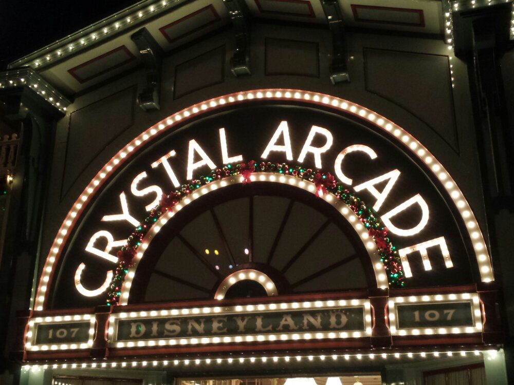 The Crystal Arcade sign, while waiting for Believe in Holiday Magic