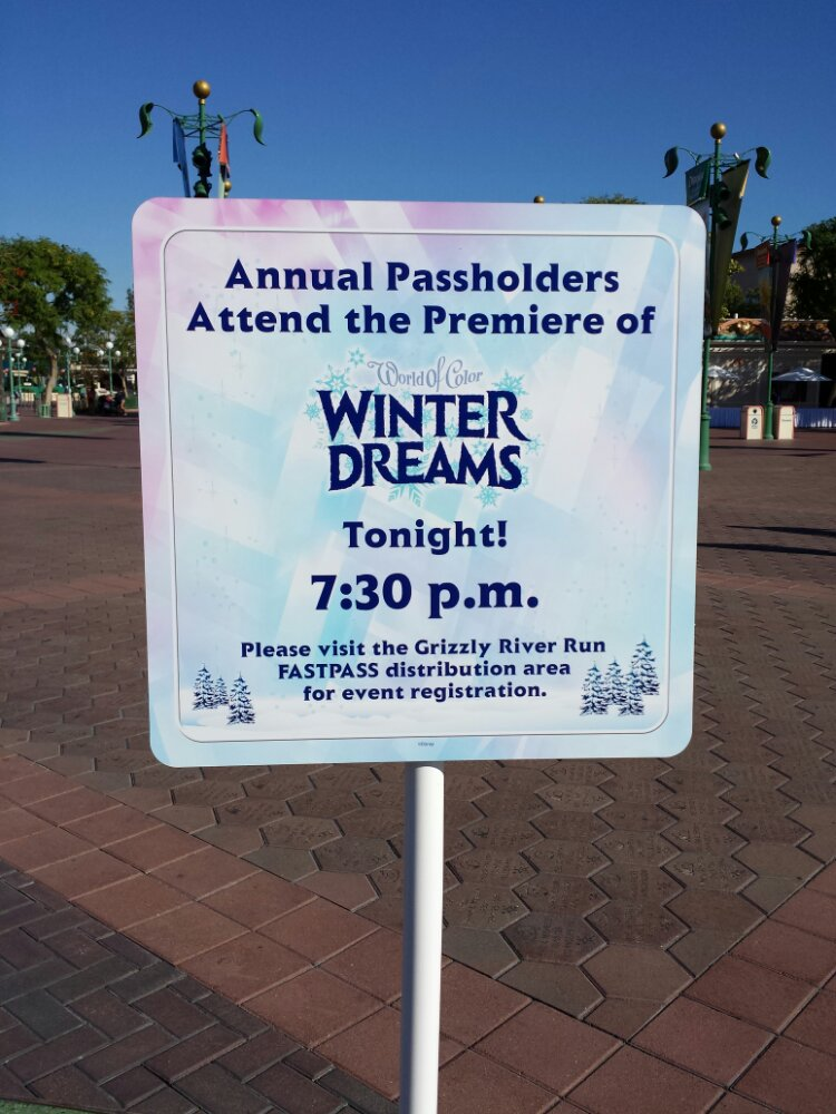Annual Passholders have the opportunity to attend the World of Color Winter Dreams tonight