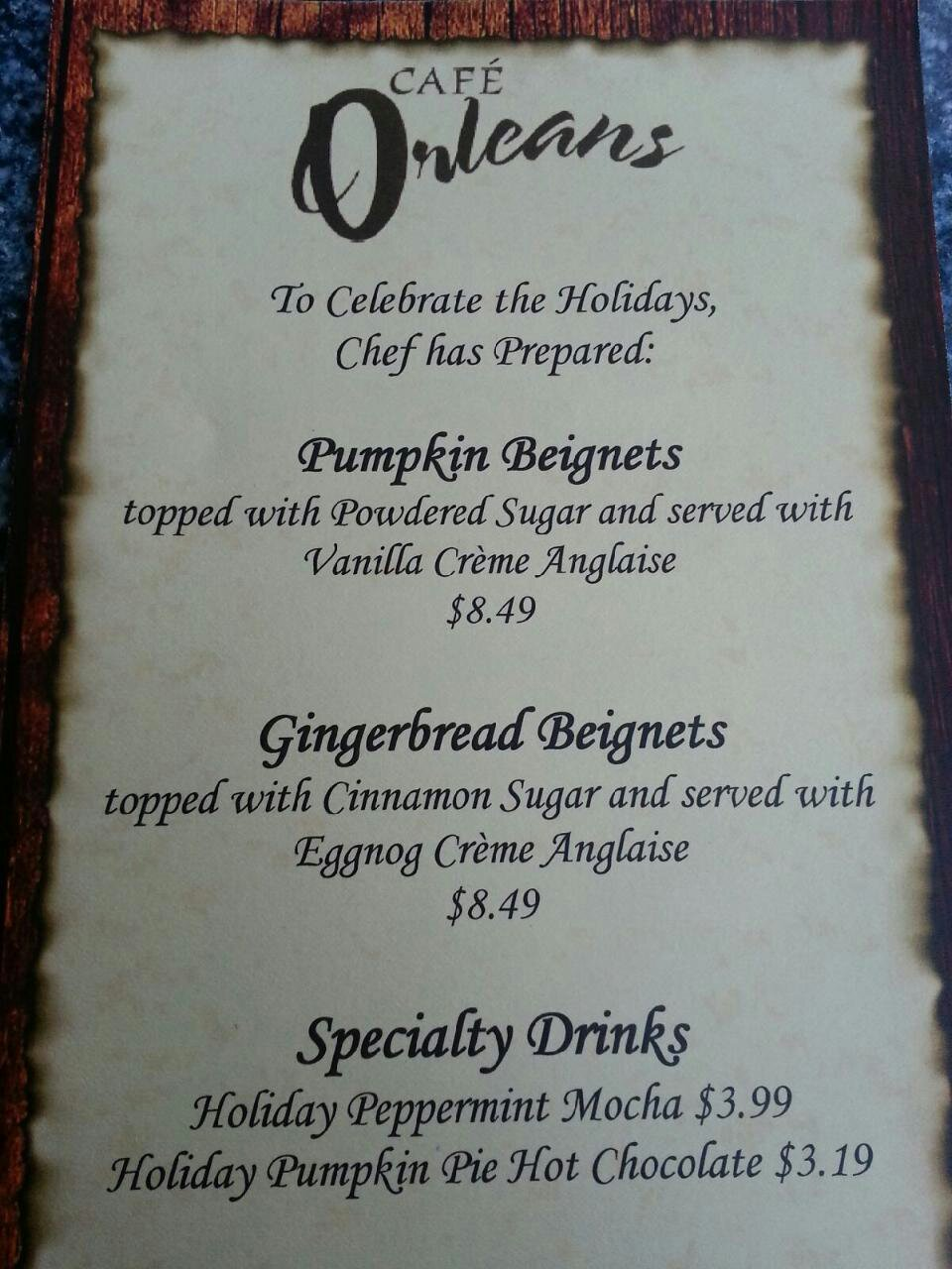 Cafe Orleans Holiday menu #DisneyHolidays – Thanks to a friend for the picture