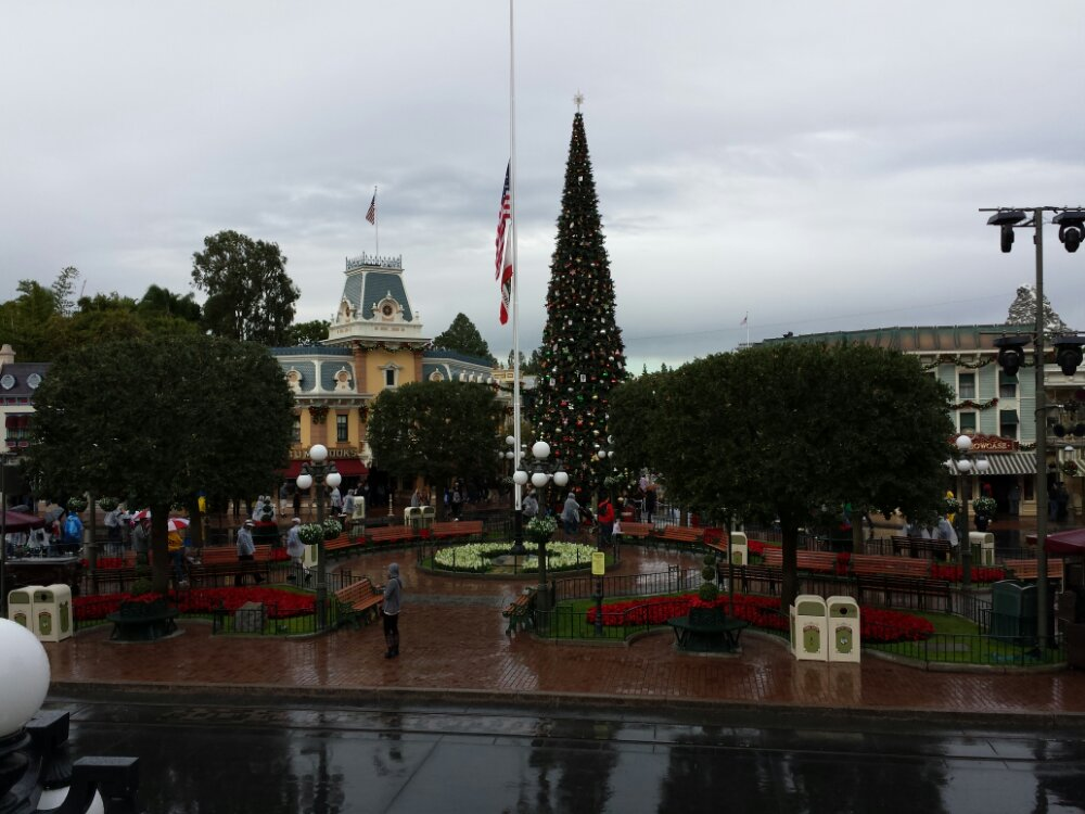 Flags on Main Street are at half staff for Diane Disney Miller