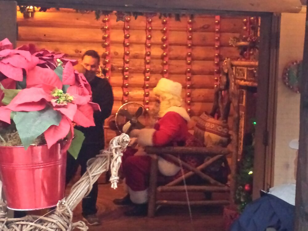 Due to the weather Santa moved indoors to the cabin today.