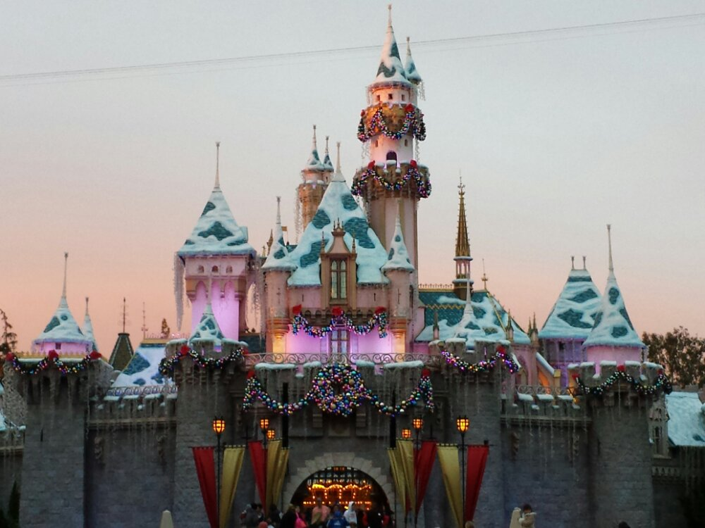 Sleeping Beauty Castle as the sun is setting