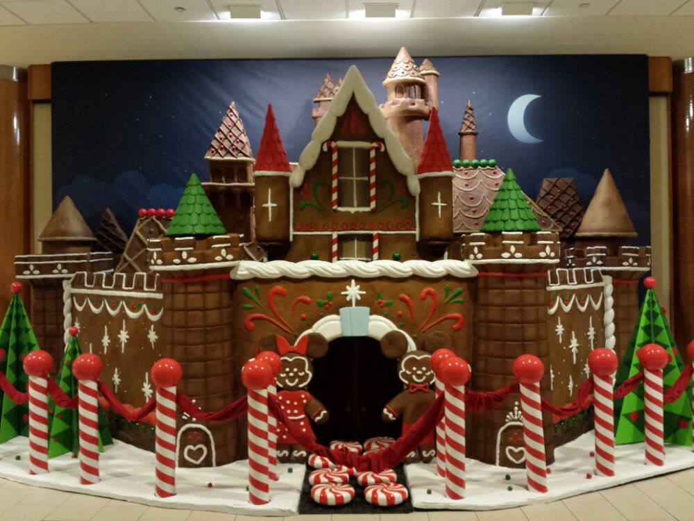 A gingerbread version of Sleeping Beauty Castle as you enter the Disneyland Hotel