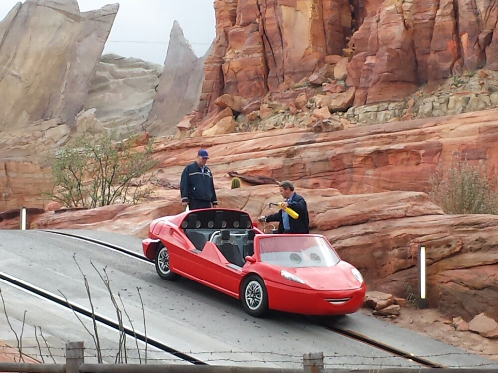 An unscheduled pit stop for this Racer #CarsLand