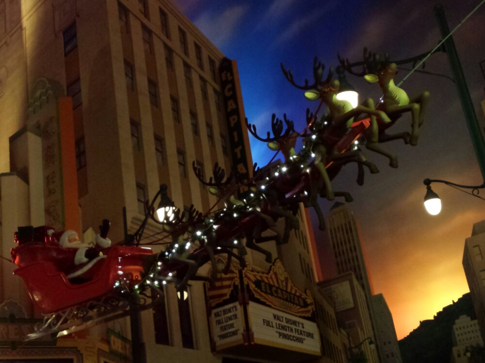 Santa and his reindeer at the end of Hollywood Blvd