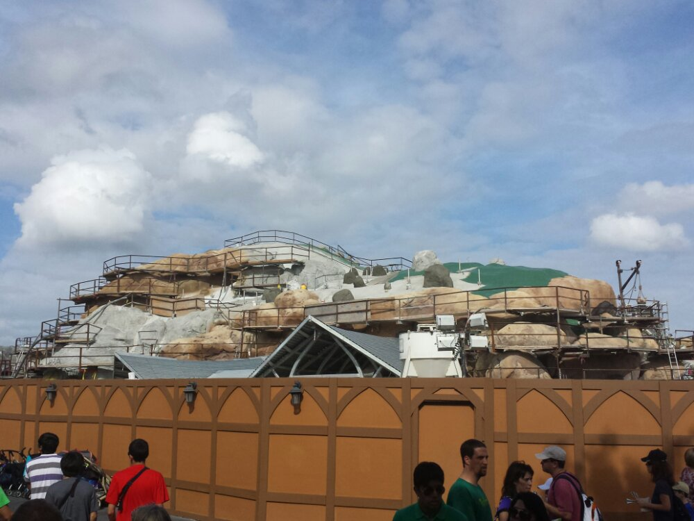 The Seven Dwarfs Mine Train from the walkway by the Speedway