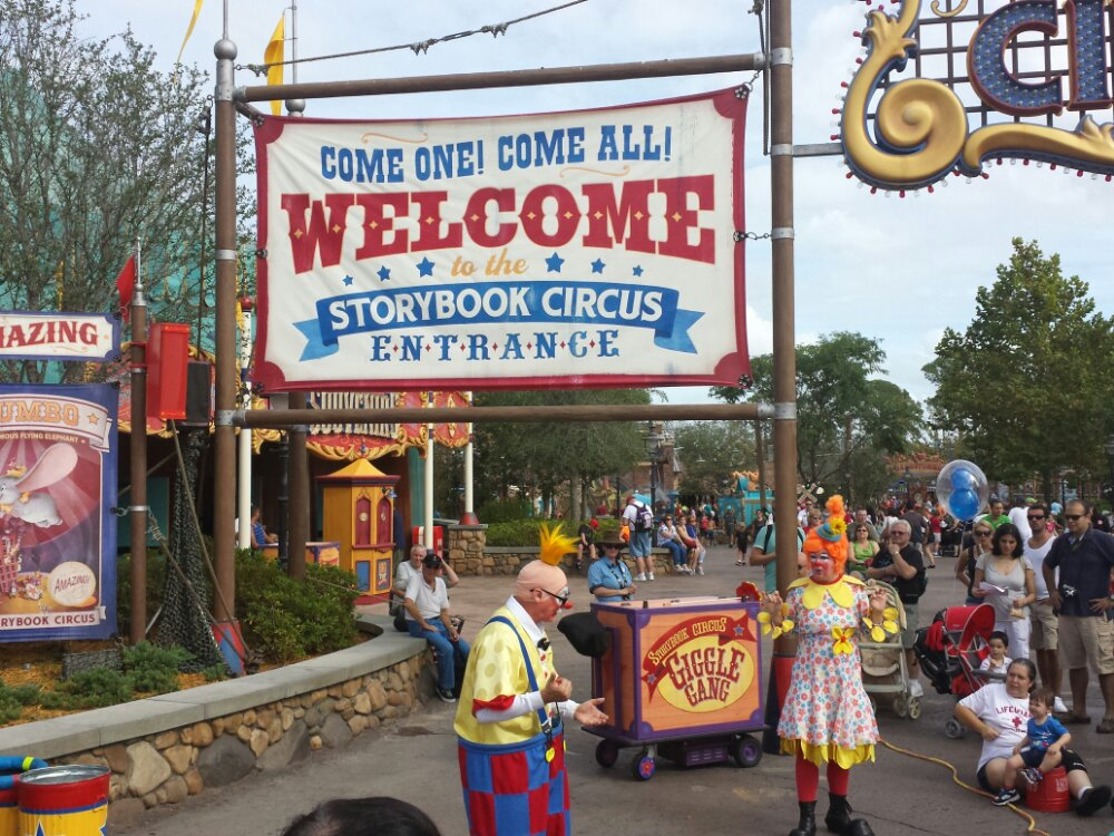 The Giggle Gang performing at the entrance to Storybook Circus