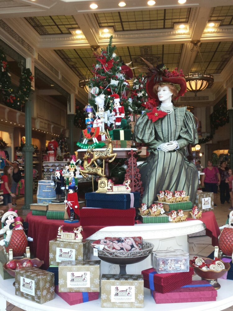 A Christmas display in the Emporium on Main Street USA #WDW