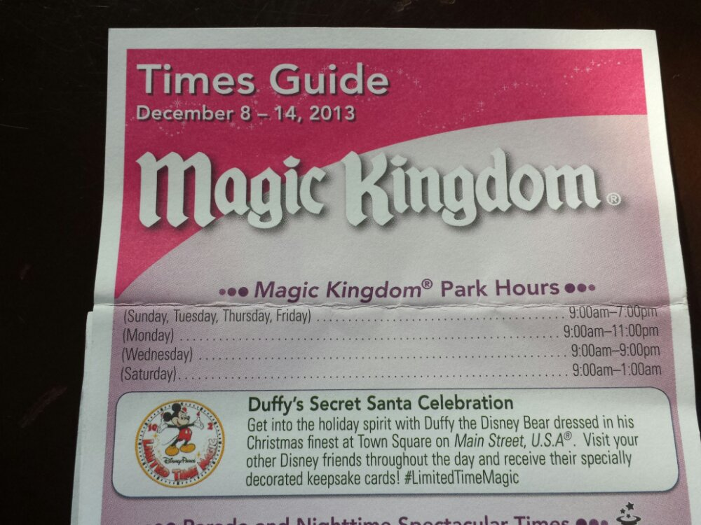 The time guide listing for the #LimitedTimeMagic this week