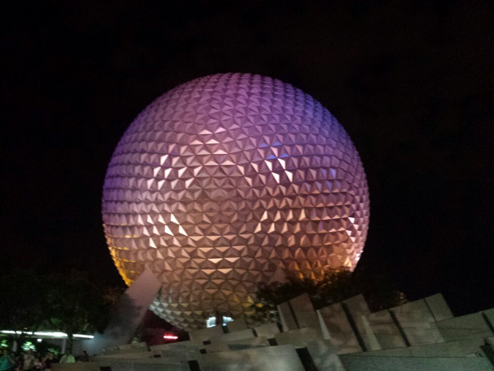 Finishing up the evening at Epcot. Passing Spaceship Earth