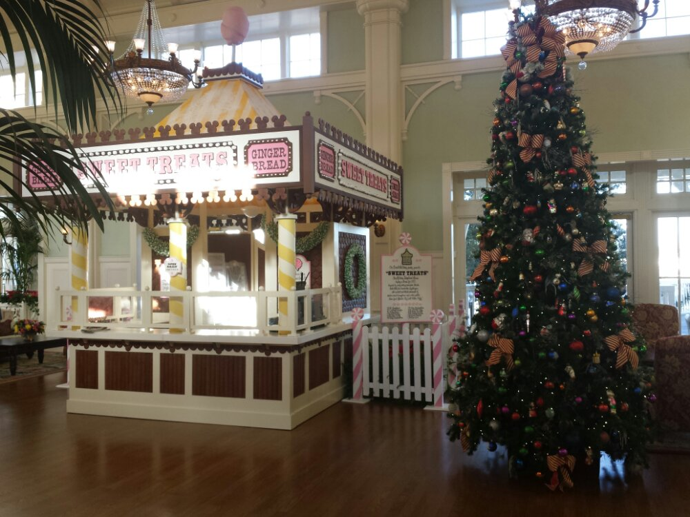 Good morning from the Boardwalk lobby.  The tree and gingerbread store.