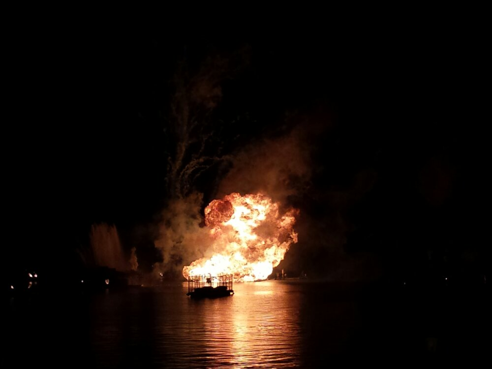 Illuminations Reflections of Earth – inferno barge in action