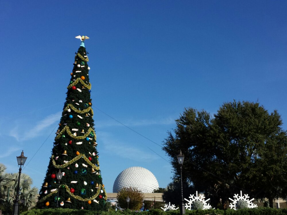 Epcot Christmas Tree & Spaceship Earth