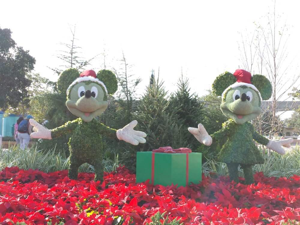 Mickey & Minnie topiaries