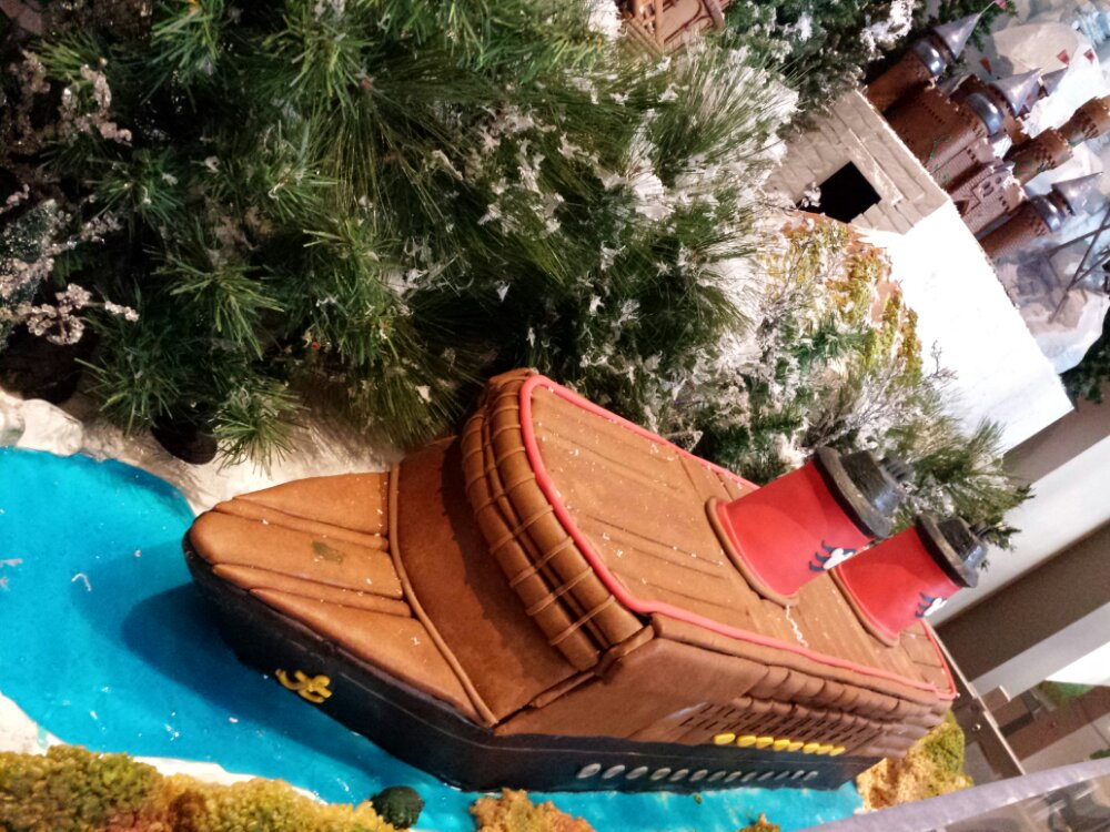 The Disney Magic Cruise Ship out of gingerbread at the Land