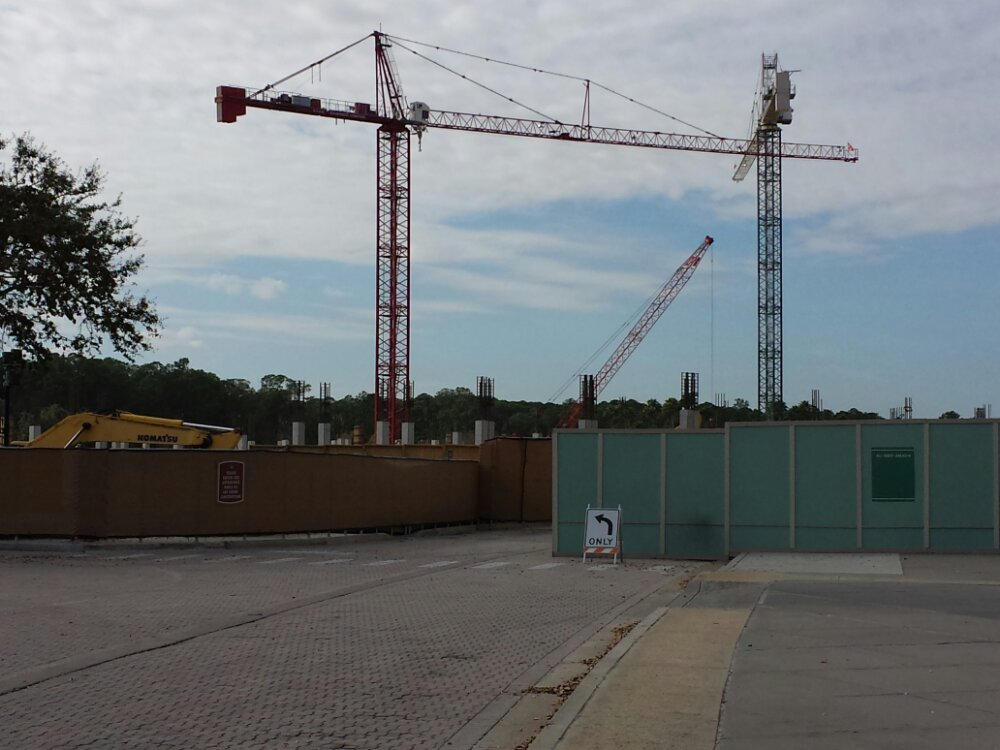 Arriving at Downtown Disney the Disney Springs garage is going up.